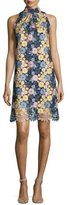 Erin Fetherston Sleeveless Floral Lace Cocktail Dress, Navy/Multicolor