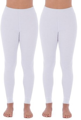 Fruit of the Loom Fit For Me By  Women's and Women's Plus Thermal Waffle Lounge Bottom - 2 Pack