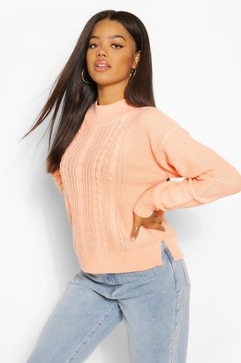 boohoo Cable Knit High Neck Sweater
