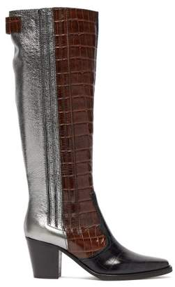 Ganni Panelled Leather Western Boots - Womens - Brown Multi