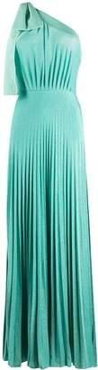 Elisabetta Franchi pleated one-shoulder maxi dress