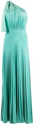 Elisabetta Franchi Pleated One-Shoulder Maxi Dress