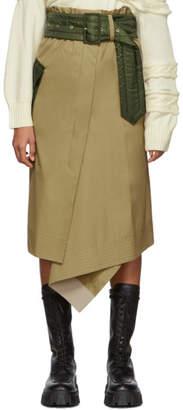 Sacai Beige and Khaki Cotton Skirt