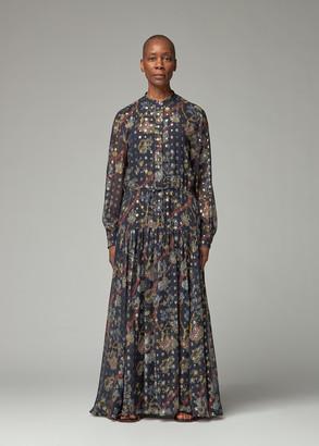 Chloé Women's Gold Lurex Long Shirt Dress Size 36
