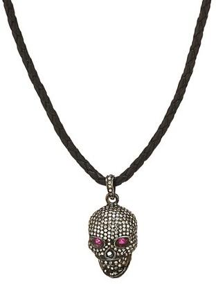 Nina Gilin Black Rhodium-Plated, Diamond & Ruby Skull Pendant Leather Cord Necklace