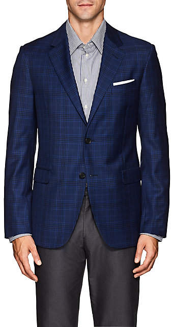Barneys New York MEN'S PLAID WOOL-SILK TWO-BUTTON SPORTCOAT - NAVY SIZE 38 S