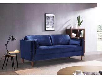 Mercer41 Microfiber/Microsuede 73.2'' Square Arm Loveseat Fabric: Blue
