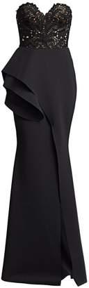 Badgley Mischka Strapless Ruffled Lace Mermaid Gown
