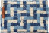 Loewe Blue Denim & Leather Weave Pouch