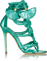 Brian Atwood Yuna metallic leather sandals