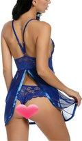 Sweetnight Sexy V-neck Lace Plus Size 3XL Babydoll Mesh Chemise Nightgown Transparent Lingerie (XXXL, )