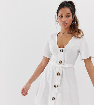 ASOS DESIGN Petite faux horn button through mini tea dress