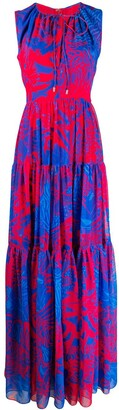 Halpern Graphic-Print Tiered Maxi-Dress