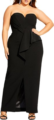 City Chic Strapless Column Gown