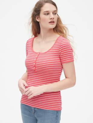 Gap Stripe Ribbed Scoopneck Henley