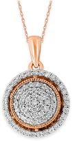 10K Rose Gold .34 cttw Diamond 18-Inch Chain Milgrain Accent Round Halo Pendant Necklace