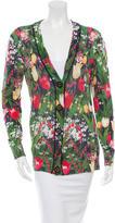 Tory Burch Floral V-Neck Cardigan