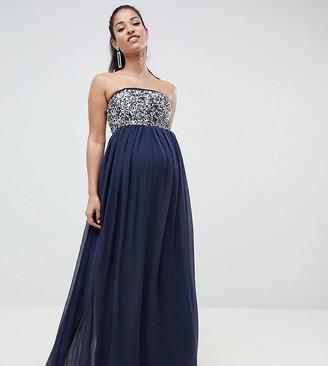 ASOS DESIGN Maternity EXCLUSIVE star embellished bandeau maxi dress