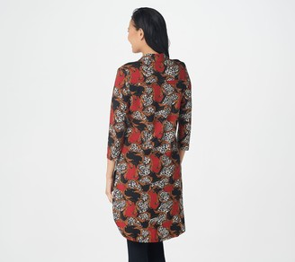 Women With Control Attitudes by Renee Petite 3/4-Sleeve Como Jersey Printed Duster