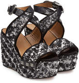 Sonia Rykiel Embellished Wedge Sandals with Leather