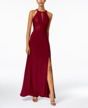 Night Way Nightway Lace Halter Gown