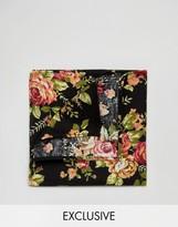 Reclaimed Vintage Floral Pocket Square In Black