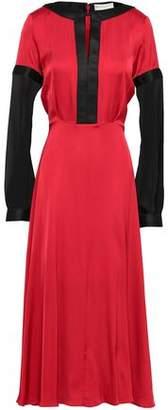 Amanda Wakeley Two-tone Chiffon And Satin Midi Dress