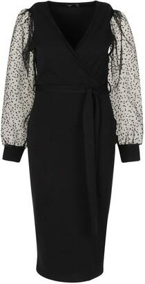 boohoo Plus Heart Organza Sleeve Midi Dress