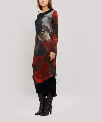 Crea Concept Asymmetric Abstract Print Dress