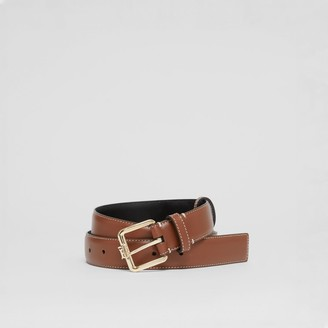 Burberry Monogram Motif Topstitched Leather Belt