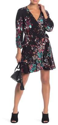Love Stitch Long Sleeve Floral Print Wrap Dress