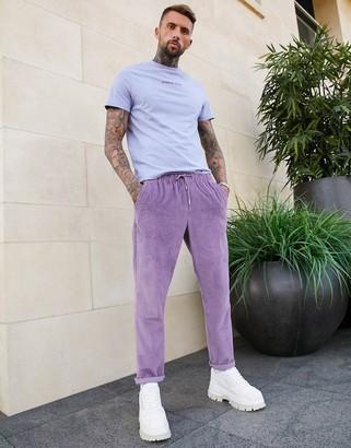 ASOS DESIGN cord slim pants in washed purple