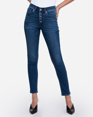 Express High Waisted Cozy Fleece Button Fly Jean Ankle Leggings