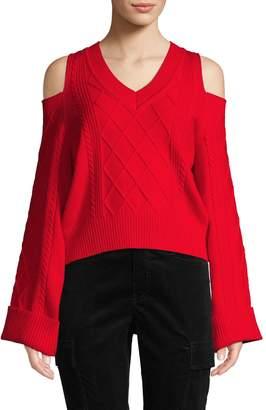 Lea & Viola Cable-Knit Cold-Shoulder Sweater
