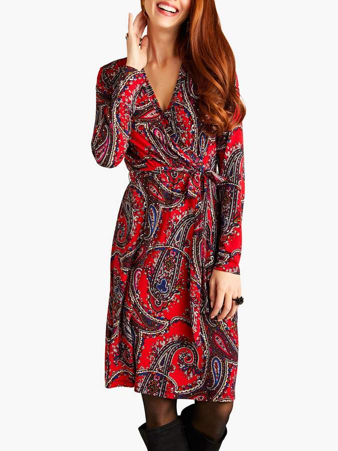 Yumi Paisley Print Wrap Dress, Red