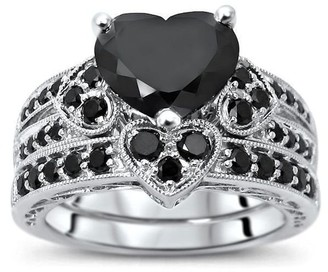 Front Jewelers 14k White Gold 3 & 1/10ct Black Heart Shape Diamond Engagement Ring Bridal Set