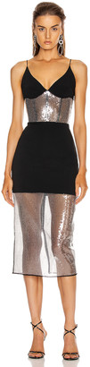 David Koma Sequin Panel Pencil Dress in Black & Black | FWRD