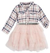 Little Lass Little Girl's Plaid and Tulle Dress