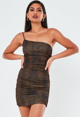 Missguided Petite Brown Animal Print One Shoulder Mini Dress