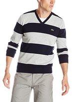 Lacoste Men's Long Sleeve Striped Cotton Jersey V Neck Sweater