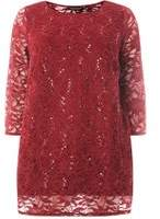 Dorothy Perkins Womens DP Curve Plus Size Wine Sequin Embellished Lace Top- Red