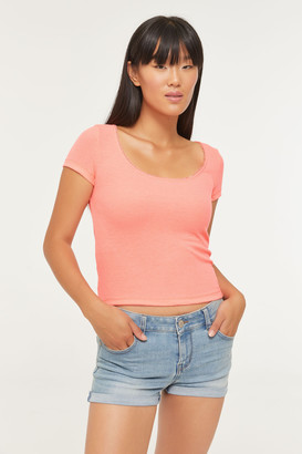 Ardene Ribbed Crochet Trim Tee