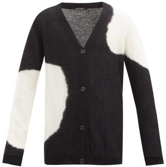 Ann Demeulemeester Cloud-intarsia Mohair-blend Cardigan - Black White