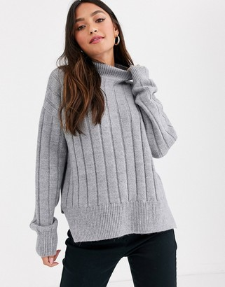 New Look wide rib side split jumper in grey