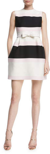 Valentino Sleeveless Belted Striped Fit-and-Flare Cocktail Dress