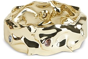 Alexis Bittar Stone Studded Crumpled Hinge Bangle Bracelet
