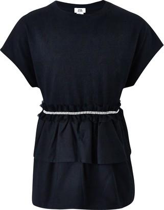 River Island Girls Black embellished ruffle T-shirt