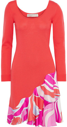 Emilio Pucci Printed Satin Twill-paneled Wool Mini Dress