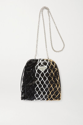 Prada String Color-block Faux Leather And Nylon Tote - Gold