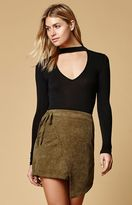 Reverse Corduroy Wrap Mini Skirt